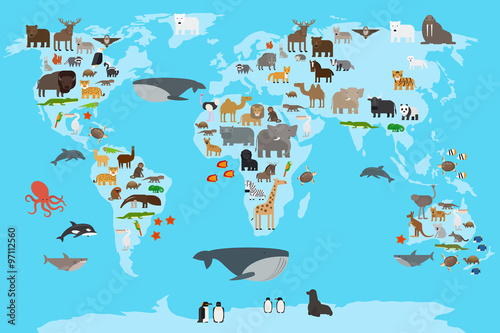 plakat Animals world map