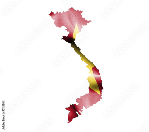 Photo Map of Vietnam with waving flag isolated on white