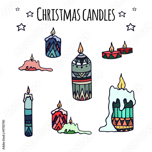 In de dag Retro sign Set of colorful hand-drawn doodle Christmas candles
