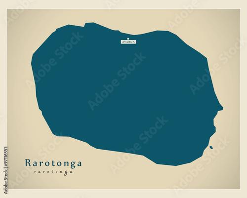 Fotografie, Obraz  Modern Map - Rarotonga CX
