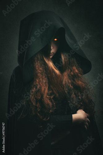 Fire witch with black robe Canvas-taulu