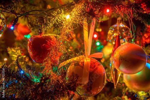 Fototapety, obrazy: Artistic dark Christmas tree decorations