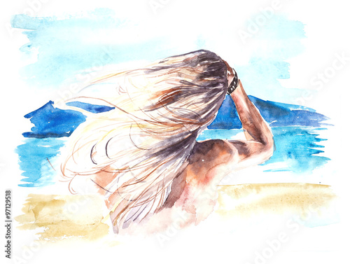 Blond woman. Profile. Watercolor hand drawn illustration.