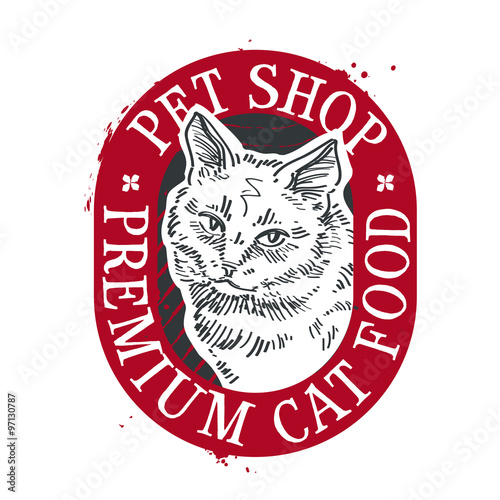 Keuken foto achterwand Vlinders in Grunge pet shop vector logo design template. food or cat icon
