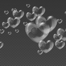 Heart-shaped Transparent Clean Realistic Soap Water Bubbles On Abstract Checker Background Vector Illustration