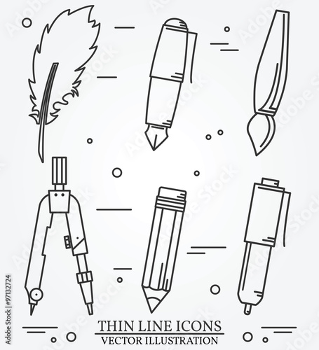 Fotografia, Obraz  Drawing tools thin line icon set for web and mobile. Set include