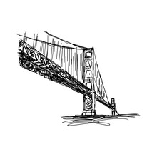 Illustration Vector Doodle Hand Drawn Of Sketch San Francisco Bridge, Golden Gate