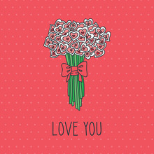 Love You. Romantic Pink Card With Bouquet Of Hearts. Vector Template.