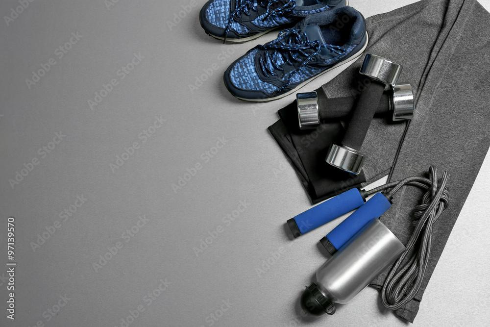 Fototapeta Set for sports on gray background - obraz na płótnie