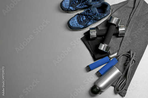 Fototapeta Set for sports on gray background obraz na płótnie