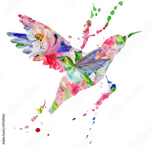 Poster Geometric animals hummingbird multicolored on white background