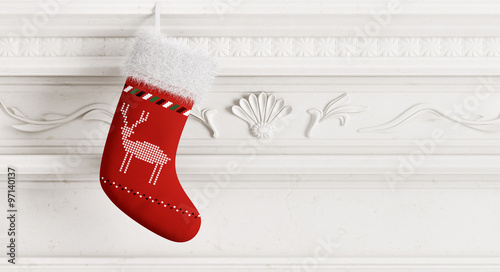 Photographie  Red christmas stocking 3d rendering