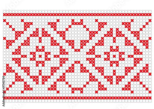 Obraz Romanian traditional pattern Vector illustration icon pixel - fototapety do salonu