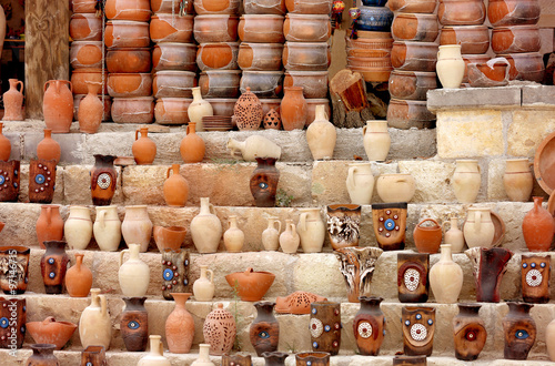 Poster Dairy products Beautiful clay pots