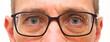 canvas print picture - Gesicht mit Brille und Regentropfen