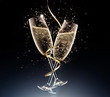 canvas print picture - glasses of champagne on a black background.