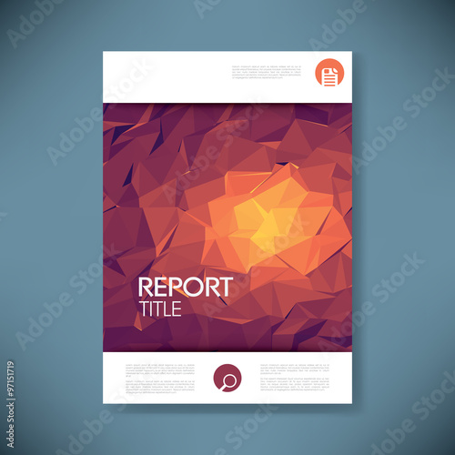 report cover template with 3d low poly vector background. business, Presentation templates