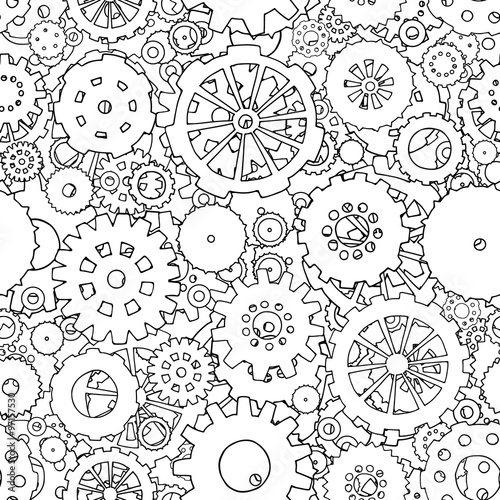 Cartoon Black And White Seamless Pattern With Doodle Gears