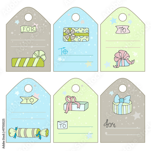 cute gift tags with cartoon doodle gift boxes stars catchwords blank space for