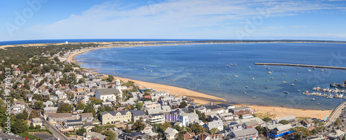 Fotografie, Obraz  Provincetown, Massachusetts, Cape Cod city view and beach and ocean view from above