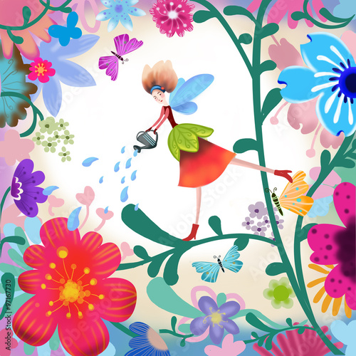 The Illustration of the World of Children's Imagination: Flower Fairy. Realistic Fantastic Cartoon Style Scene / Wallpaper / Background / Card Design. - 97167730