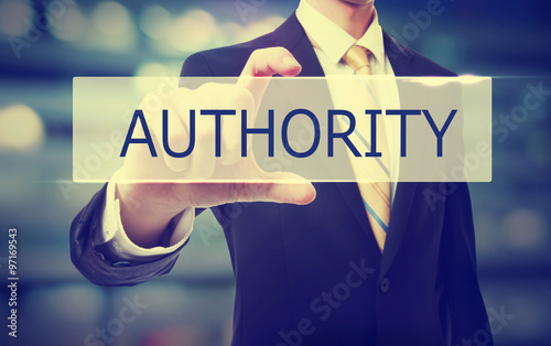 Photo Business man holding Authority concept
