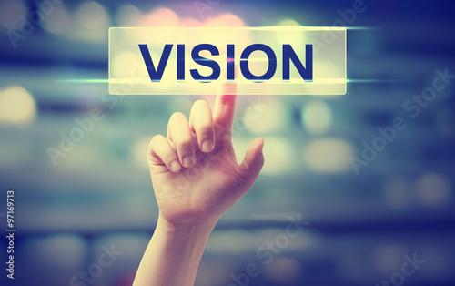 Fotografia, Obraz  Vision concept with hand pressing a button