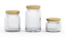 Isolated Glass Jars With Yellow Lids