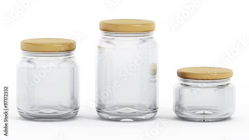 Fényképezés  Isolated glass jars with yellow lids