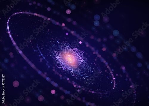 Carta da parati Nucleus of an atom - Abstract Futuristic Background