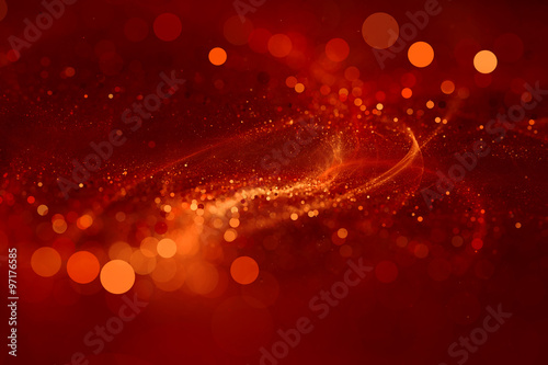 Abstract background red bokeh circles. Beautiful background with confetti particles.
