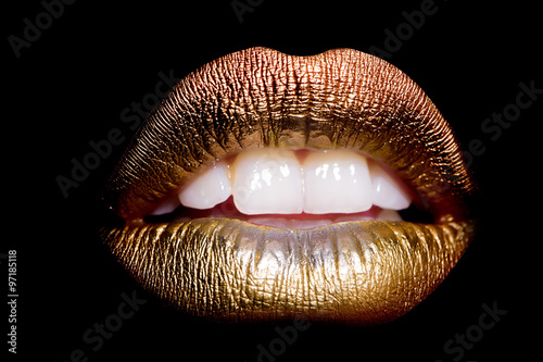 Gold lips on black Poster