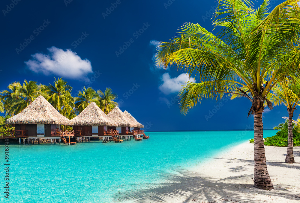Fototapeta Over water bungalows on a tropical island with palm trees and am