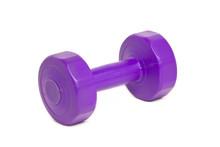 Purple Plastic Coated Dumbbell Isolated On White.