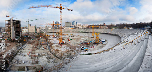 Tuinposter Stadion Construction of the stadium