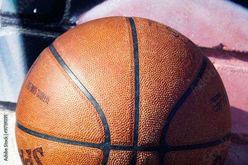Photo  texture of a basketball ball