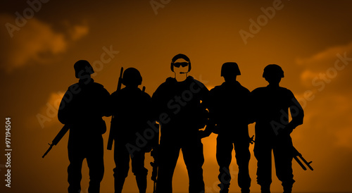 Poster Militaire Mercenaries or private army concept
