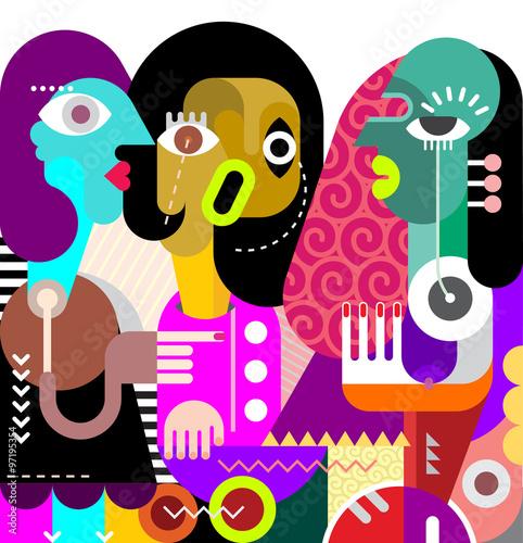 Poster Art abstrait Three Beautiful Women
