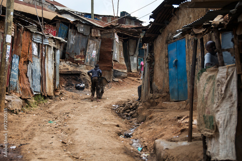 photograph taken in the Kibera slums in Nairobi during the stay of the Pope in Kenya. more than 500,000 people live here without essential services.