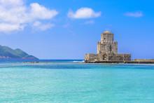 The Bourtzi Tower In Methoni Venetian Fortress In The Peloponnese, Messenia (Greece)