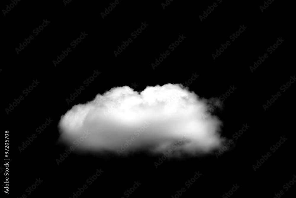 Fototapeta Beautiful Single white cloud isolated over black background