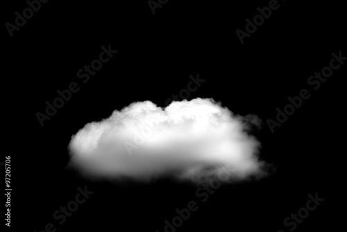 Foto op Plexiglas Hemel Beautiful Single white cloud isolated over black background