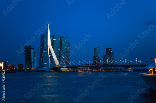 Poster Buenos Aires Erasmusbrug bridge view at night in Rotterdam,