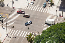 Spring Street And Traffic In Los Angeles, USA