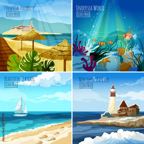 Fotografie, Obraz  Seascape Illustrations Set