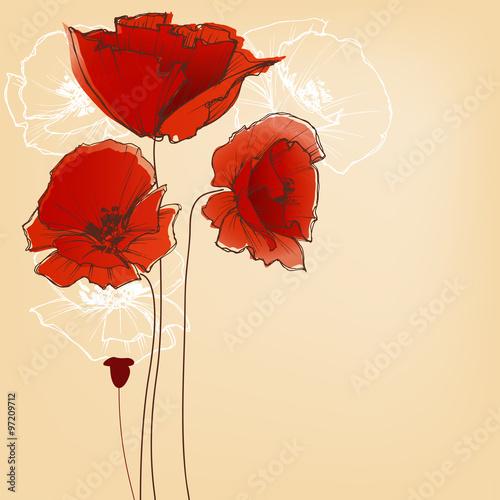 Keuken foto achterwand Abstract bloemen Flower background for greeting cards, poppy design