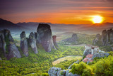 Meteora monasteries at sunset, Greece