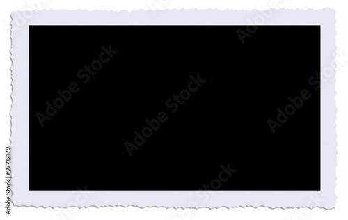 Valokuva cadre photo ancienne bords dentelés avec ombre fond noir