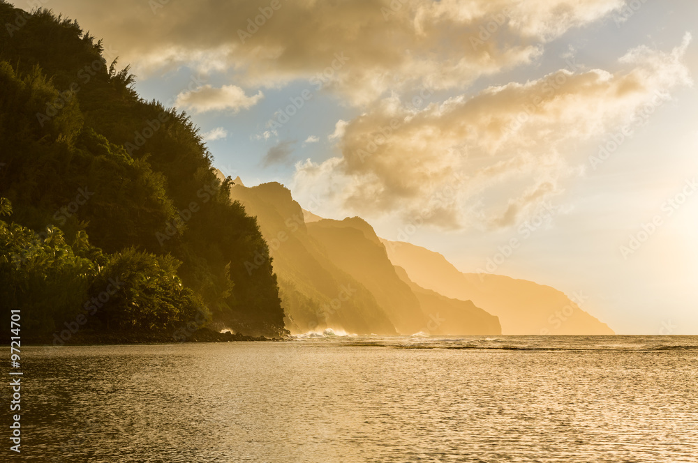 Fotografia, Obraz  Sunset along Na Pali coast from Ke'e Beach