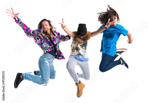 Foto op Plexiglas Dance School Group of street dance woman jumping
